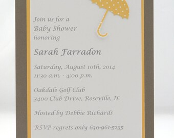 Custom Umbrella Baby Shower Invitation, Neutral, Yellow and Brown