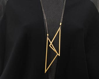 Statement Necklace, Gold Necklace, Triangle Necklace, Layered Necklace, Geometric Pendant, Stainless Steel Chain, Black Chain, Gift for Her