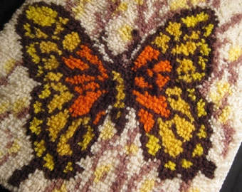 Retro Mod Groovy Butterfly 1970s Wallhanging Latch Hook Rug, orange yellow, flower power, wall hanging, on Etsy by TheRetroLife