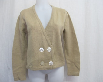 Mad Men Cardigan Cropped Sweater 1960s Cardigan Sweater Taupe Cardigan Sweater Garland