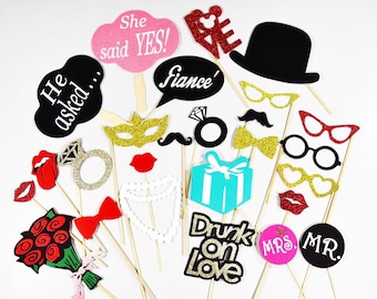 Wedding/engagement photobooth props , props wedding, engagement props 26pc**