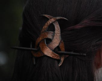 Hammered Celtic Tri-Moons Hair Pin/Cuff with Stick