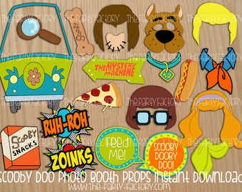 Scooby Doo Photo Booth Props Instant Download, PDF, Digital File, Printables, Party Printables