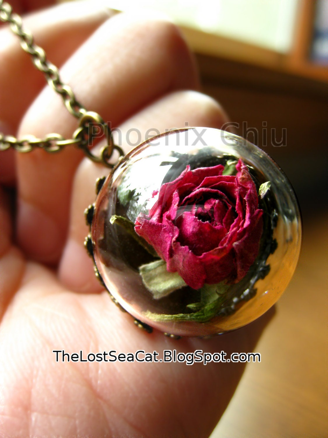 June birth flower Real rose necklace Birthday necklace mini