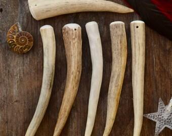 "Deer Elk Antlers: Gorgeous Naturally Shed Deer and Elk Antler Pendants, Large Size, 1 pc x 6"" (152mm long) / Bone, Tribal, Bohemian/Supplies"