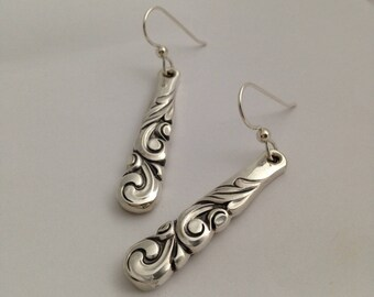 Silver Dangle Earrings South Seas 1955 Vintage Silverplate Spoon Jewelry