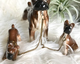 Vintage cceramic Boxer dog with pups