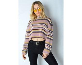 REWORKED Vintage 90s Purple Striped Knit Cropped Jumper Size S/M