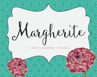 Margherite Script - Hand-Drawn Cursive Font Download + Free Frames - Personal or Commercial