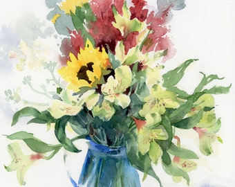 Exuberant Flowers in a Blue Glass Pitcher - Framed Watercolor