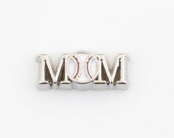 Baseball Mom Floating Charm for Glass Memory Locket FC30 - 1 Charm