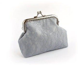 Gray Bridal Lace Purse, Silver Wedding Bridesmaid Small Clutch with Kisslock
