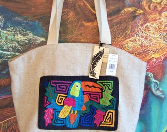Large Tote, bag, Carryall, Overnight, Weekender, Beach, Natural fiber, Bird Mola