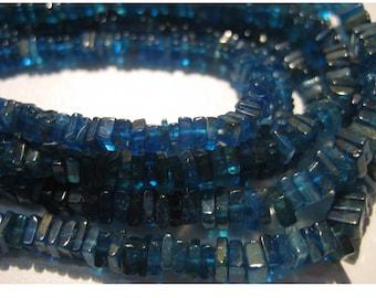 Blue Apatite - Apatite Square Heishi Beads - Size 4mm Gemstone Beads -  Wholesale Price - 8 Inch Half Strand