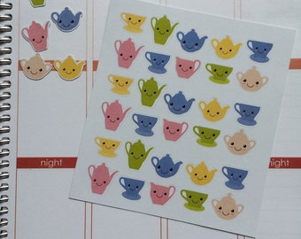 TeaPot Planner Stickers 30 Kawaii Teapot Stickers Fits Erin Condren Planner Plum Paper Stickers