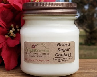 GRAN'S SUGAR COOKIES Candle - Vanilla Candles, Cookie Candles, Cinnamon Candles, Christmas Holiday Candles, Strong Candles, Grandmother Gift