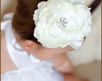 White Flower Hair Clip  - Peony White - Wedding Hair Clip - Bridal Hair Clip - Baby Hair Clip
