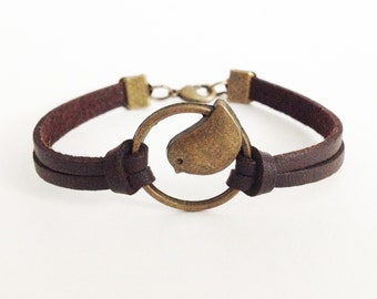 Bird bracelet Antique bronze bracelet Brown leather bracelet Friendship bracelet Christmas gift