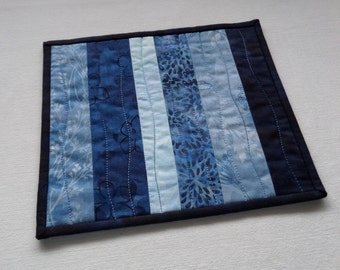 Beautiful Blues Scrappy Patchwork Coffee Coaster, Mug Rug, Snack Mat