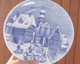 Free shipping Christmas Old plate house Paradise family Plate IRONSTONE TABLEWARE Underglaze 11-86 violet & Vintage Plate Ironstone Tableware CBM Patented Design