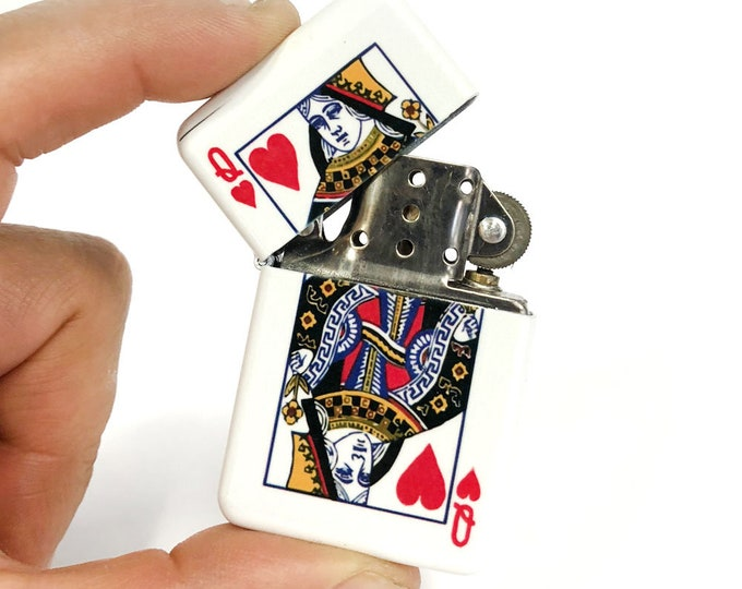 Queen of hearth flip lighter-Playing card-Sublimated Lighter-Retro lighter-Cigar-Gift for Him-Groomsmen-Bachelors-Fathers Day