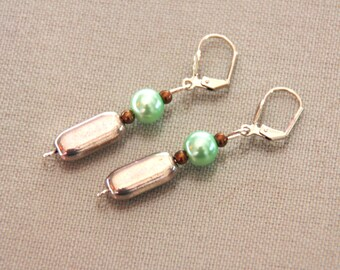 Silver tone and green pearl earrings