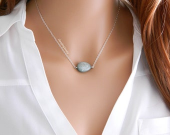 Natural Blue Zircon Necklace, Healing Crystal Necklace, Raw Gemstone Jewelry, December Birthstone Necklace, Mother Necklace, Gift for Women