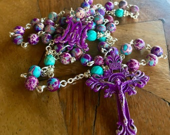 Handmade rosary with Impression Jasper and natural Turquoise gemstone beads and ornate Immaculate Medal Center and Italian crucifix