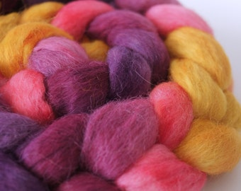 Superfine Alpaca Roving. Hand Dyed . Hand Painted . 100% Combed Roving  . OOAK . Spinning Supply . 4oz . Pink . Gold . Purple