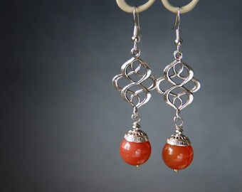 Carnelian long drop earrings Carnelian jewelry Gemstone Dainty Earrings Evening earrings Silver Drop Dangle earrings Everyday jewellery Gift