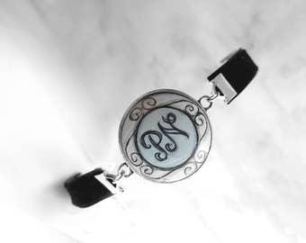 Personalized Charm Bracelet, Hand Painted Black Velvet Bracelet, Monogram Jewelry, Initial Bracelet, Letter Art Painting, Hand Jewelry