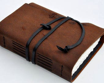 "Great Guy Gift Handmade Leather Journal 5 1/2"" x 7 1/2"" - 140 lb watercolor paper - Sketchbook"