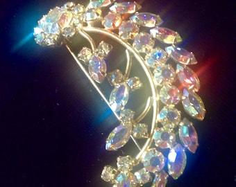 Vintage Floral Leafy Swag BLING Aurora Crystal Sparkling Pin Brooch Navettes Goldtone