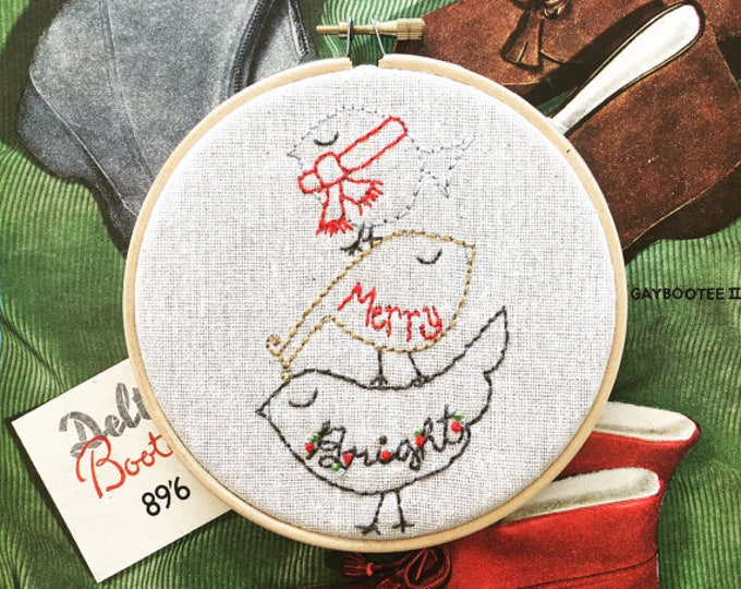 embroidery pattern // Merry Bright embroidery pattern - instant digital download