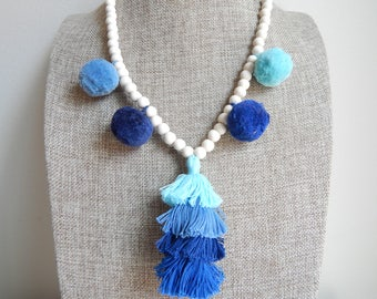 Tiered tassel necklace with pompoms, bohemian style, beach boho, wood beads, beach necklace, summer boho necklace, blue pompoms, blue tassel
