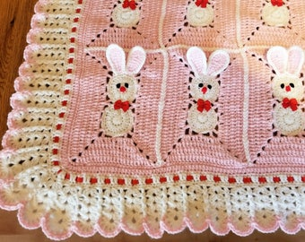 Custom order. Crochet Pink Baby Blanket with bunny, rabbits for little girl / Easter Bunny.
