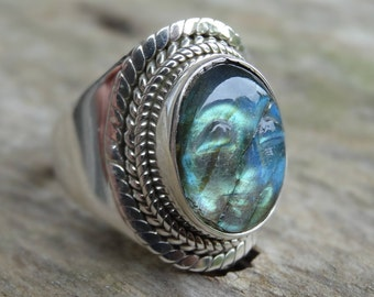 Carved Face Fiery LABRADORITE Sterling silver Ring Size 7.5 Sterling Silver Ring Labradorite Ring - Ring size 8 Boho chic Ring Size 7 8
