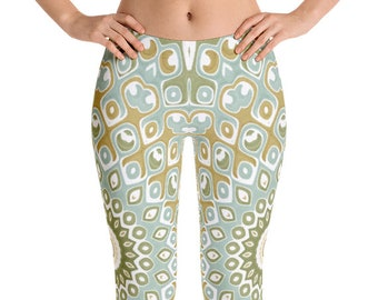 Printed Yoga Tights, Patterned Tights, Yoga Pants Green, Mandala Leggings, Mandala Pants, Nature Leggings, Printed Leggings
