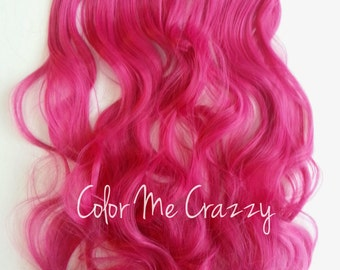 Bright Pink Wavy Synthetic Clip In Hair Extensions Hair Piece
