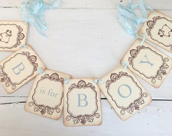 B is for Boy Banner Lamb Garland Baby Shower Decoration Photo Prop