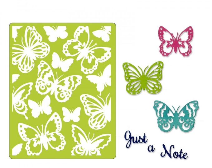 New! Sizzix Thinlits Die Set 6PK w/Textured Impressions - Just a Note Butterflies 662753