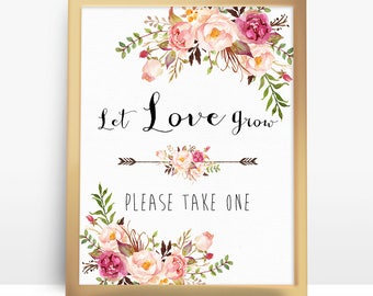 Let Love Grow Sign. Pink Floral Boho Bridal Shower Printable. Bohemian Table Decor. Favors Please Take One - PF-18