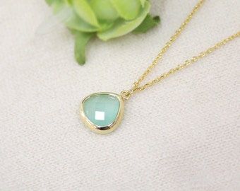 Flower Girl Necklace, mint necklace, girl necklace, child necklace, Everyday Necklace, mint pendant necklace, wedding,