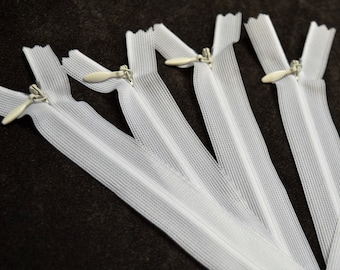 20 white 16cm invisible zippers