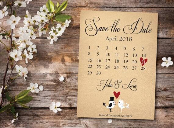 Cute Save The Date Calendar Templatesave The Date Postcard