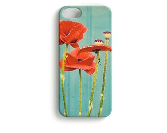 "phone Case ""Scandinavian Summer"" Flower Poppy Poppies House Wood Sweden red turquoise"
