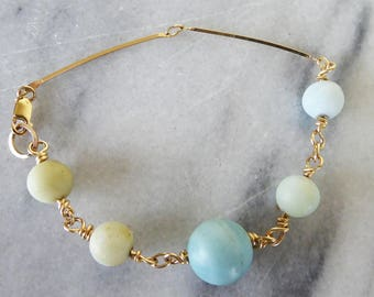 Blue Wishes Amazonite and gold filled bracelet