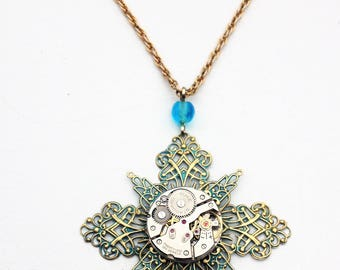Brass and blue filigree watch movement steampunk necklace