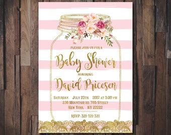 Shabby chic baby shower invites etsy mason jar baby shower invitation rustic invitations its a girl boho invitation vintage filmwisefo Images