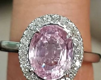 GIA 3.50 NO HEAT Natural Pink Sapphire Certified Super Clean